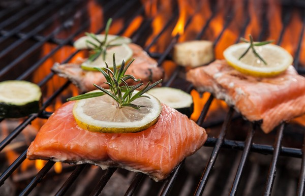 Grilled Salmon with Lemon-Rosemary Sauce