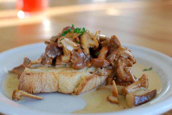 Classic Winter Mushrooms on French Bread